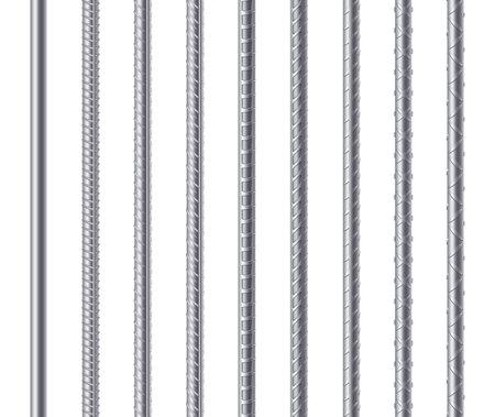 Metal endless rebars, reinforcement steel reinforced rods. Construction metal armature Ilustración de vector