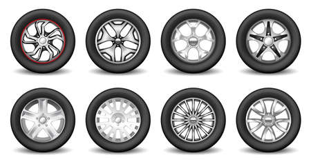 Big set of rubber wheel and chromed metallic alloy disk. Realistic car tire rims for web design