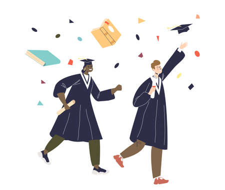 Happy diverse students couple celebrate graduation throwing caps up. Cheerful alumnus man and woman