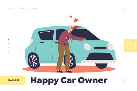 Happy car owner concept of landing page with man buying vehicle. Cheerful male hugging new auto