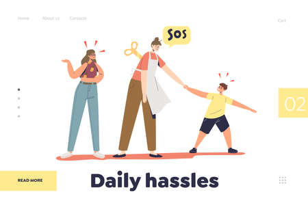 Kids daily hassles concept of landing page with tired mom of two teenagers exhausted of misbehavior