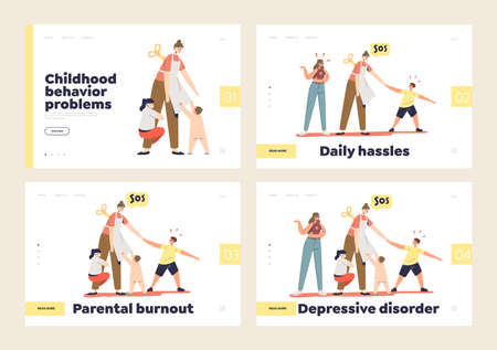 Tired parents burnout, depression and disorder set of landing pages with frustrated mom and kids