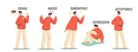 Denial, anger, bargaining, depression and acceptance stages of emotional state and mental health