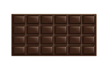 Dark chocolate bar. Unwrapped square piece of black bitter chocolate. Cocoa organic product