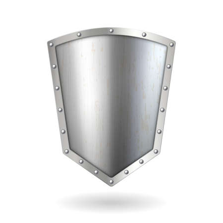 Realistic 3d metal silver shield icon. Chromed metal steel shield. Security and protection emblem