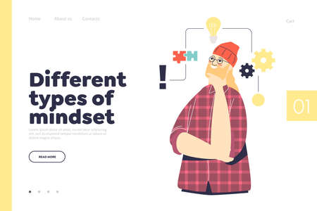 Different types of mindset concept of landing page with man having structural mindset 矢量图片