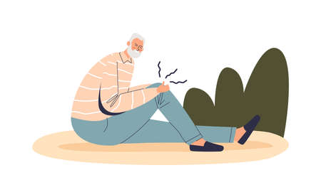 Senior man suffer from pain in knee. Old male cartoon character fall down injured ill with ache