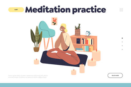 Meditation practice at home concept o landing page with relaxed female sitting in yoga zen pose