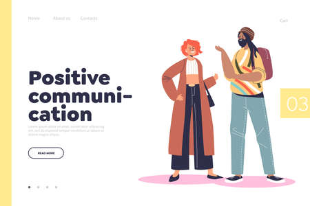 Positive communication concept of landing page with happy multinational couple of friends talking