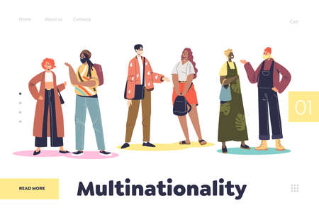 Multinationality concept of landing page with group of multinational multiethnic people communicate