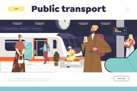 Public transport concept of landing page with people passengers at subway station waiting for metro Illustration