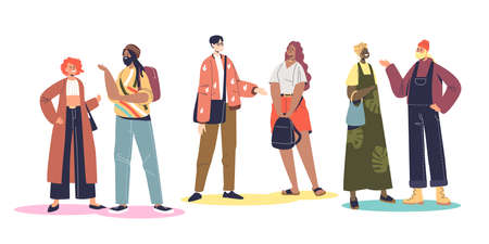 Group of multinational and multiethnic people communicating. Men and women of different nationality