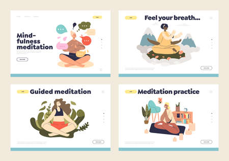 Yoga and meditation for mindfulness and wellness concept of landing pages set with female meditating Illustration