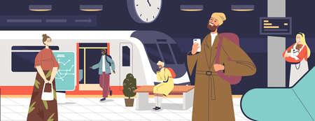 People passengers at subway station waiting for underground train arrival. Metro platform interior