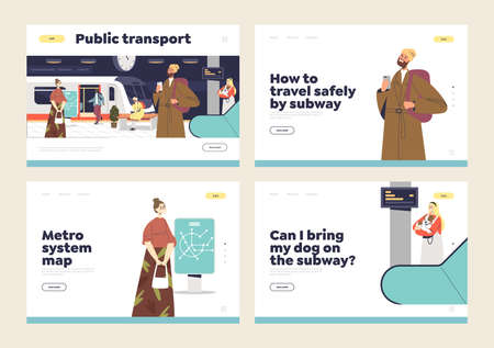 Travel on public transport concept of landing page set with people using metro and waiting for train