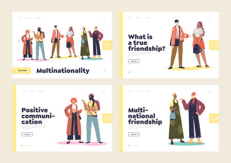 Multinational people communication friendship concept of landing pages set with multiethnic friends Illustration
