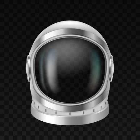 Astronaut helmet, cosmonaut space suit on black background. Spaceship pilot costume headwear