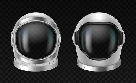 Realistic 3d cosmonaut helmet, space wear element. Protective spacesuits mask for cosmos exploration Illustration