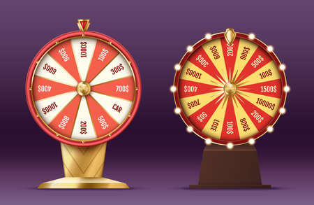 Realistic 3d spinning fortune wheel, lucky roulette for casino entertainment and gambling Illustration