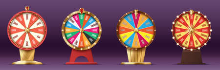 Fortune wheels set, game spin, realistic 3d lucky spinning, luxury gold roulette. Casino concept