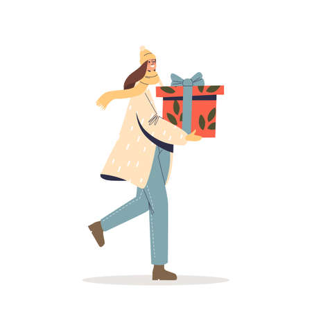 Happy woman carry christmas presents during seasonal winter holidays sale