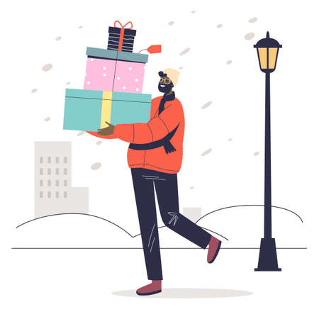 Man carry pile of christmas gifts for greeting with winter holidays and new year celebration