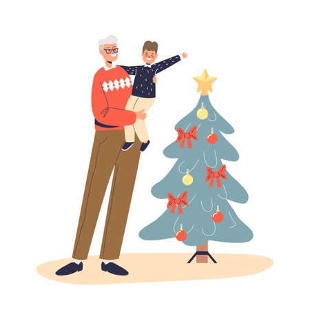 Happy grandfather holding on hands little kid boy at decorated christmas tree celebrate xmas Illustration
