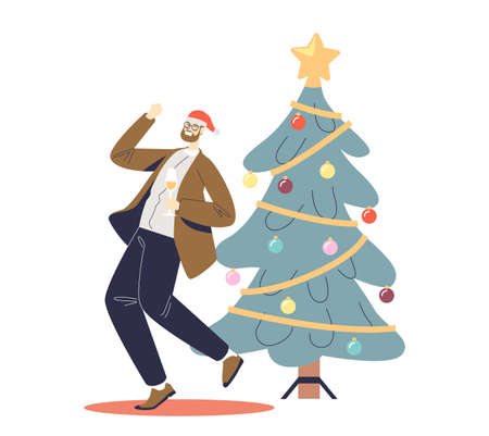 Happy man celebrate new year dance and drink champagne at decorated xmas tree on corporate party