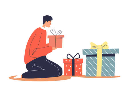Boy wrapping christmas presents in gift boxes with decorative paper preparing for winter holidays Illustration