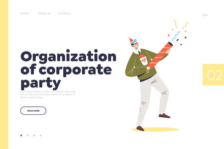 Organization of corporate party landing page with man hold cracker at new year celebration event Illustration
