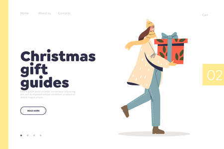 Christmas gift guides concept of landing page with happy woman carry presents for xmas and new year Illustration