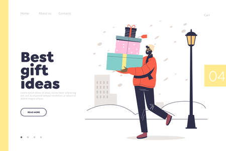Best gift ideas concept of landing page with man carry christmas presents for winter holidays