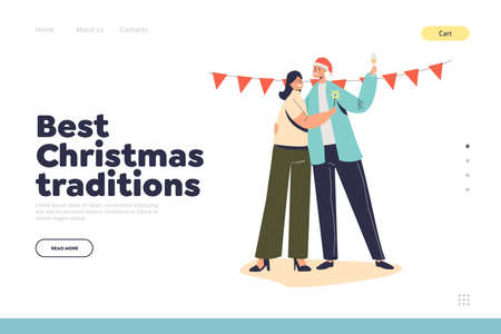 Best christmas traditions concept of landing page with happy couple celebrate drink champagne