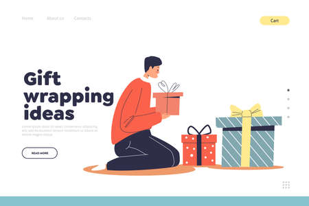 Gift wrapping ideas concept of landing page with boy decorate christmas presents for winter holidays
