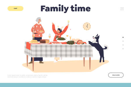Family time on christmas landing page with grandmother and kid girl serving table for holiday dinner