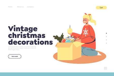 Vintage christmas decorations concept of landing page with girl taking toys for Xmas tree from box