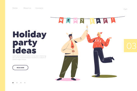 Holiday party ideas landing page with cheerful man and woman dancing on corporate new year event Illustration