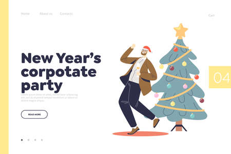 New year corporate party concept of landing page with happy man dance and drink champagne Illustration