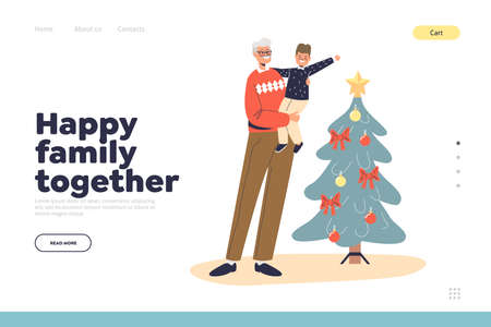 Happy family together on christmas landing page with grandfather with kid boy at xmas tree