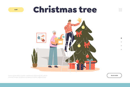 Christmas tree concept of landing page with happy grandmother decorating pine together with grandson