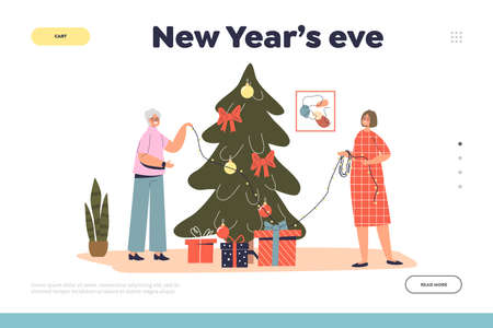 New year eve landing page with grandmother decorating christmas tree together with granddaughter