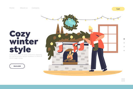 Cozy winter style landing page with mother hanging christmas socks on fireplace for presents