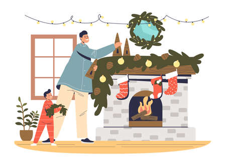 Father and kid decorating fireplace for christmas. Dad and boy preparing for xmas and new year Illustration