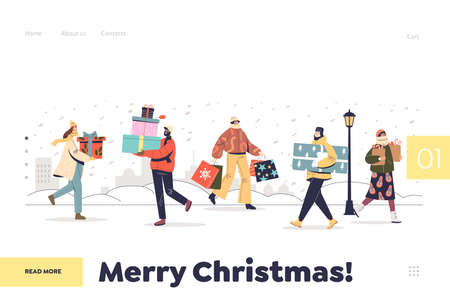 Merry christmas landing page with people carrying gifts boxes for xmas preparing for new year Illustration