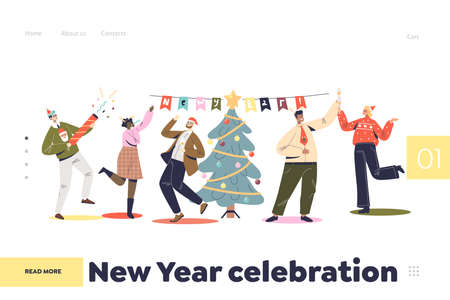 New year celebration concept of landing page with people colleagues dancing on corporate party