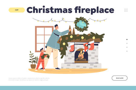 Christmas fireplace concept of landing page with father and kid decorating chimney for xmas