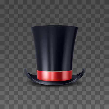 3d realistic high cap with red ribbon. Magical magician hat. Illusionist black cylinder for tricks