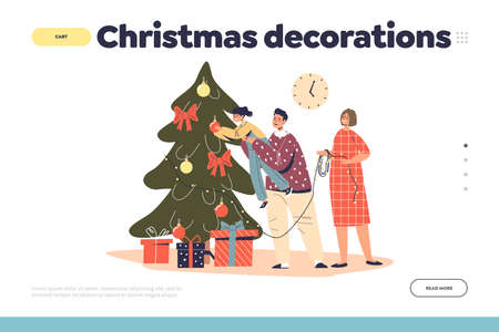 Christmas decorations concept of landing page with family decorating christmas tree Illustration