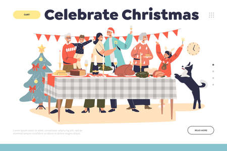 Celebrate christmas concept of landing page with happy family gathering together at decorated table Illustration
