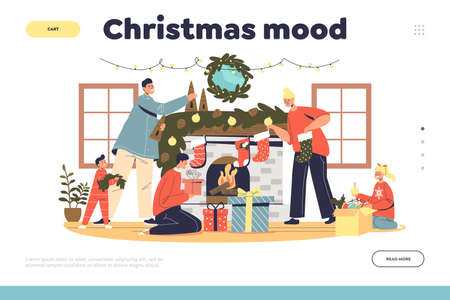 Christmas mood landing page with family decorating living room and fireplace for xmas celebration